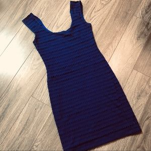Blue knit mini dress